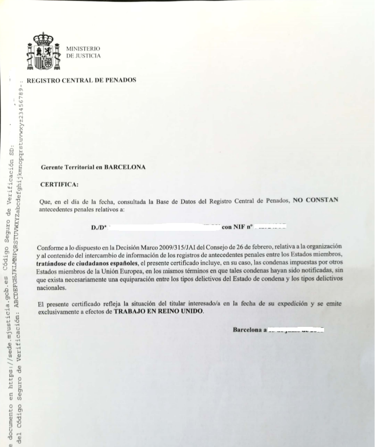 Criminal Record Certified Translation Spanish To English